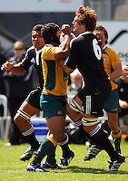 Ale Kotoni and Luke Whitelock battle for the ball during the International rugby match between New Zealand Secondary Schools and Suncorp Australia Secondary Schools at Yarrows Stadium, New Plymouth, New Zealand on Friday, 10 October 2008. Photo: Dave Lintott / lintottphoto.co.nz