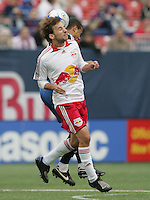 New York Red Bulls' Mike Magee, front, and San Jose Earthquakes' Jason Hernandez, back, head the ball in the second half of an MLS soccer match at Giants Stadium in East Rutherford, N.J. on Sunday, April 27, 2008. The Red Bulls defeated the Earthquakes 2-0.