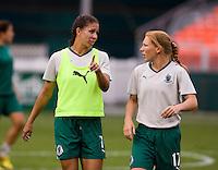 Shannon Boxx, Lori Chalupny. The Washington Freedom defeated the Saint Louis Athletica, 3-1.