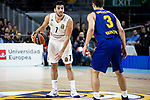 Facundo Campazzo of Real Madrid and Kevin Pangos of FC Barcelona Lassa during Turkish Airlines Euroleague match between Real Madrid and FC Barcelona Lassa at Wizink Center in Madrid, Spain. December 13, 2018. (ALTERPHOTOS/Borja B.Hojas)