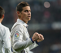 Real Madrid's Colombian midfielder James Rodriguez clebrating after scoring during the Copa del Rey soccer match between Real Madrid and Sevilla played at the Santiago Bernabéu stadium in Madrid, on January 4th 2017.