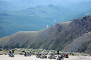 Motorcycles on the summit of Mount Washington in the White Mountains, New Hampshire USA during bike week