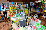 BURKINA FASO, Bobo Dioulasso, market, sale of pesticides, fertilizer, seeds, solar panel / Marktstand mit Pestiziden, Herbiziden, Dünger, Saatgut, Solar Panel