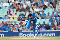 Jasprit Bumrah (India) in action from the Vauxhall Road End during India vs Australia, ICC World Cup Cricket at The Oval on 9th June 2019
