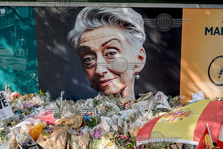 An informal memorial of flowers left at the scene of the 3 June 2017 terrorist attack on London Bridge.