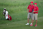 SUGAR GROVE, IL - MAY 29: Head Coach Chris Malloy and Braden Thornberry of Ole Miss line up a shot during the Division I Men's Golf Individual Championship held at Rich Harvest Farms on May 29, 2017 in Sugar Grove, Illinois. Thornberry won the individual national title with a -11 score. (Photo by Jamie Schwaberow/NCAA Photos via Getty Images)
