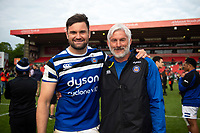 Elliott Stooke and Todd Blackadder of Bath Rugby pose for a photo after the match. Gallagher Premiership match, between Leicester Tigers and Bath Rugby on May 18, 2019 at Welford Road in Leicester, England. Photo by: Patrick Khachfe / Onside Images
