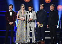 SANTA MONICA - JANUARY 13: (L-R) Joseph Mazzello, Lucy Boynton, Rami Malek, Allen Leech, and Ben Hardy appear on the 24th Annual Critics' Choice Awards at the Barker Hangar on January 13, 2019, in Santa Monica, California. (Photo by Frank Micelotta/PictureGroup)
