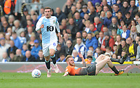Blackburn Rovers' Joe Rothwell under pressure from Swansea City's Oli McBurnie<br /> <br /> Photographer Kevin Barnes/CameraSport<br /> <br /> The EFL Sky Bet Championship - Blackburn Rovers v Swansea City - Sunday 5th May 2019 - Ewood Park - Blackburn<br /> <br /> World Copyright © 2019 CameraSport. All rights reserved. 43 Linden Ave. Countesthorpe. Leicester. England. LE8 5PG - Tel: +44 (0) 116 277 4147 - admin@camerasport.com - www.camerasport.com