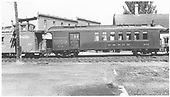 #212 baggage &amp; coach combine at Durango coupled to caboose #0587.<br /> D&amp;RGW  Durango, CO