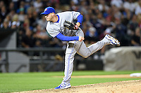 Toronto Blue Jays pitcher Dustin McGowan (29) delivers a pitch during a game against the Chicago White Sox on August 15, 2014 at U.S. Cellular Field in Chicago, Illinois.  Chicago defeated Toronto 11-5.  (Mike Janes/Four Seam Images)
