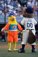 July 15, 2009: The Famous Chicken, also commonly known as the San Diego Chicken, and the Portland Beavers mascot Lucky greet each other during the 2009 Triple-A All-Star Game at PGE Park in Portland, Oregon.