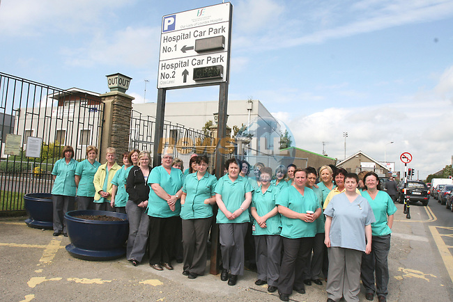 Household Staff protesting outside the Lourdes Hospital today.  They will be providing patient care when nessesary but not other duties....Photo NEWSFILE/Jenny Matthews.(Photo credit should read Jenny Matthews/NEWSFILE)....This Picture has been sent you under the condtions enclosed by:.Newsfile Ltd..The Studio,.Millmount Abbey,.Drogheda,.Co Meath..Ireland..Tel: +353(0)41-9871240.Fax: +353(0)41-9871260.GSM: +353(0)86-2500958.email: pictures@newsfile.ie.www.newsfile.ie.FTP: 193.120.102.198.