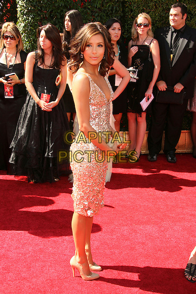 EVA LONGORIA.59th Annual Primetime Emmy Awards held at the Shrine Auditorium, Los Angeles, California, USA,.16 September 2007..full length gold silver sequined beaded dress over shoulder  beige patent Christian Louboutin shoes.CAP/ADM/RE.©Russ Elliot/AdMedia/Capital Pictures.