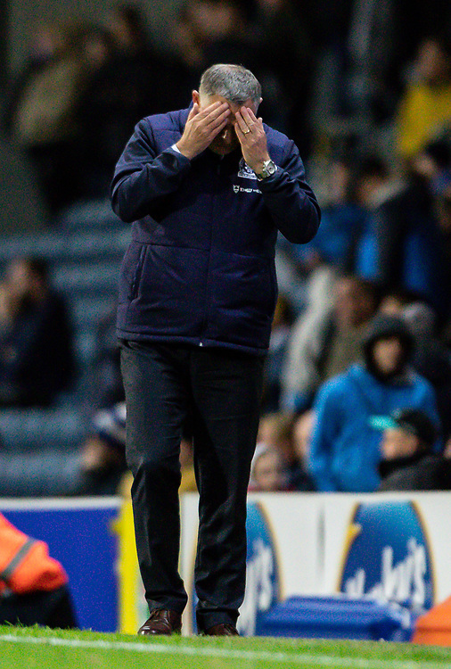 Blackburn Rovers' manager Tony Mowbray holds his head in his hands towards the end of the game<br /> <br /> Photographer Andrew Kearns/CameraSport<br /> <br /> The EFL Sky Bet Championship - Blackburn Rovers v Nottingham Forest - Tuesday 1st October 2019  - Ewood Park - Blackburn<br /> <br /> World Copyright © 2019 CameraSport. All rights reserved. 43 Linden Ave. Countesthorpe. Leicester. England. LE8 5PG - Tel: +44 (0) 116 277 4147 - admin@camerasport.com - www.camerasport.com