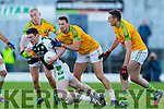 Bernard Walsh, Paul O'Donoghue and Brendan O'Sullivan South Kerry in action against Shaun Keane Legion at the Kerry County Senior Football Final at Fitzgerald Stadium on Sunday.