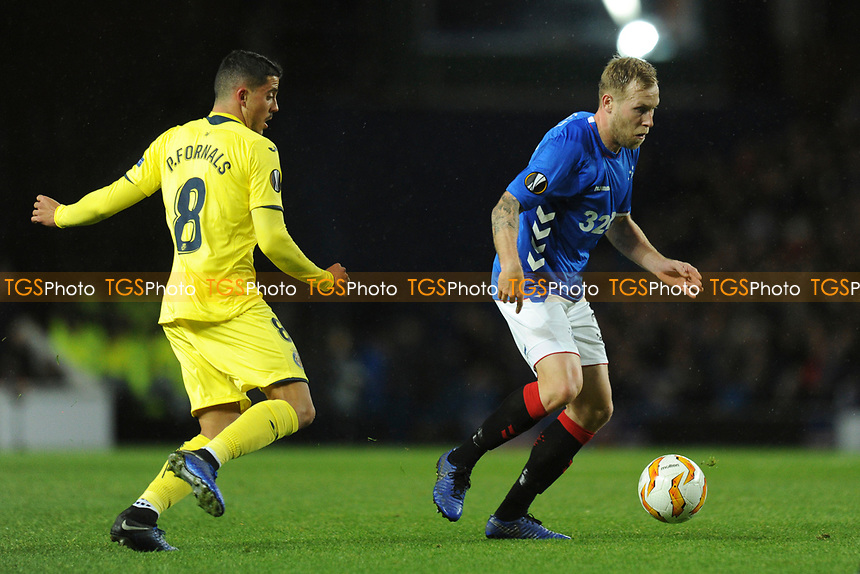 Scott Arfield of Rangers gets away from Pablo Fornals of Villarreal CF during Rangers vs Villarreal CF, UEFA Europa League Football at Ibrox Stadium on 29th November 2018