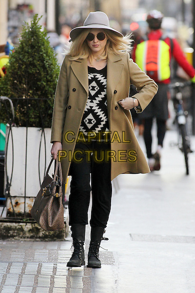 Fearne Cotton arrives for work, London, England..November 5th, 2012.full length grey gray hat sunglasses shades brown jacket tan black white sweater jumper top trousers boots pregnant bag purse.CAP/HIL.©John Hillcoat/Capital Pictures .