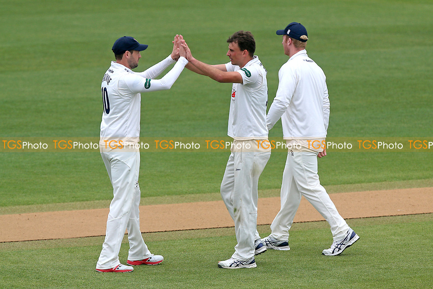 Matt Dixon of Essex celebrates taking the wicket of Jack Clark during Essex CCC vs Durham MCCU, English MCC University Match Cricket at The Cloudfm County Ground on 4th April 2017