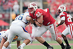 Wisconsin Badgers defensive lineman J.J. Watt (99) plays defense during an NCAA college football game against the San Jose State Spartans on September 11, 2010 at Camp Randall Stadium in Madison, Wisconsin. The Badgers beat San Jose State 27-14. (Photo by David Stluka)