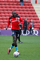 Toumani Diagouraga of Fleetwood Town warms up during the Sky Bet League 1 match between Charlton Athletic and Fleetwood Town at The Valley, London, England on 17 March 2018. Photo by Carlton Myrie.