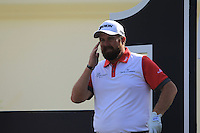 Shane Lowry (IRL) on the 12th tee during the preview for the DP World Tour Championship at the Earth course,  Jumeirah Golf Estates in Dubai, UAE,  18/11/2015.<br /> Picture: Golffile | Thos Caffrey<br /> <br /> All photo usage must carry mandatory copyright credit (&copy; Golffile | Thos Caffrey)