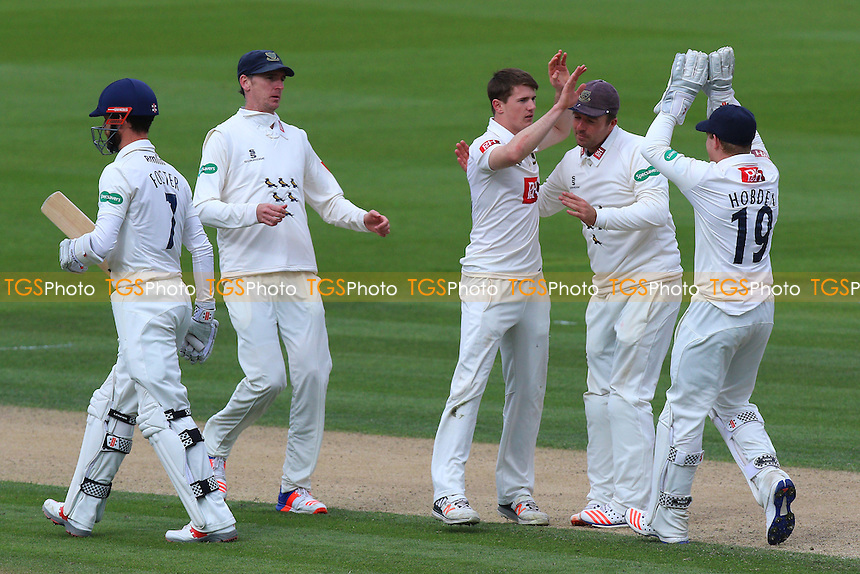 George Garton (3rd R) of Sussex celebrates taking the wicket of James Foster during Sussex CCC vs Essex CCC, Specsavers County Championship Division 2 Cricket at The 1st Central County Ground on 18th April 2016