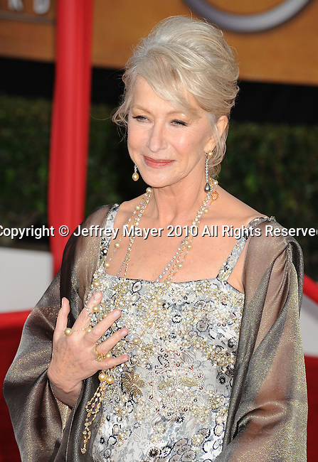 LOS ANGELES, CA. - January 23: Helen Mirren  arrives at the 16th Annual Screen Actors Guild Awards held at The Shrine Auditorium on January 23, 2010 in Los Angeles, California.