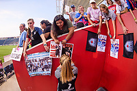 Bridgeview, IL - Sunday September 03, 2017: Alyssa Naeher, Fans during a regular season National Women's Soccer League (NWSL) match between the Chicago Red Stars and the North Carolina Courage at Toyota Park. The Red Stars won 2-1.