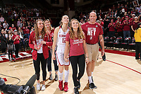 STANFORD, CA - February 11, 2018: Stanford Women's Basketball vs Colorado and Senior Ceremony at Maples Pavilion. Stanford won 62-53.