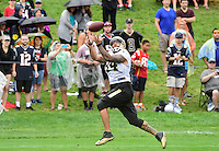 Wednesday, July 27, 2016: New Orleans Saints tight end Michael Hoomanawanui (84) makes a catch at a joint training camp practice between New England Patriots and  the New Orleans Saints  training camp held Gillette Stadium in Foxborough Massachusetts. Eric Canha/CSM