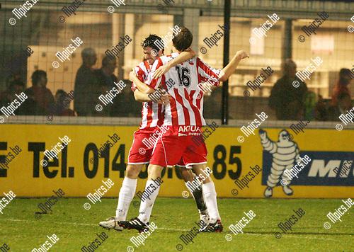 2010-03-20 / Seizoen 2009-2010 / Voetbal /  Hoogstraten VV - R Kapellen FC / Vreugde bij de spelers van Hoogstraten na het 1-0 doelpunt van  Thys Schauwen..Foto: mpics