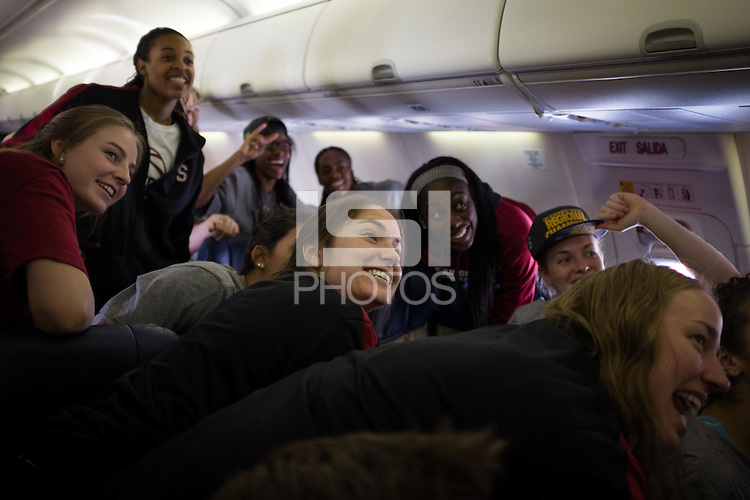 SAN JOSE, CA - The Stanford Cardinal prepares to depart from San Jose International Airport en route to Nashville, TN for the 2014 NCAA Final Four tournament at the Bridgestone Arena.