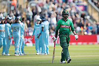 Tamim Iqbal (Bangladesh) trudges off following his dismissal by Mark Wood (England)  during England vs Bangladesh, ICC World Cup Cricket at Sophia Gardens Cardiff on 8th June 2019