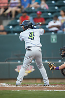 Erlin Cerda (4) of the Lynchburg Hillcats at bat against the Winston-Salem Dash at BB&T Ballpark on May 3, 2018 in Winston-Salem, North Carolina. The Dash defeated the Hillcats 5-3. (Brian Westerholt/Four Seam Images)