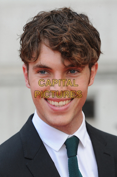 Tom Hughes <br /> attends the World Premiere of &quot;About Time&quot;, Somerset House, London, UK, 8th August 2013.<br /> portrait headshot white shirt green tie grey gray suit smiling <br /> CAP/BEL<br /> &copy;Tom Belcher/Capital Pictures