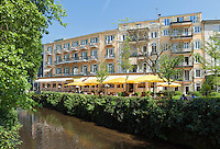 Germany, Baden-Wuerttemberg, Baden-Baden: Atlantic Parkhotel, Restaurant, Cafe at river Oos | Deutschland, Baden-Wuerttemberg, Baden-Baden: Atlantic Parkhotel, Restaurant, Cafe an der Oos