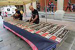 Lining up the name boards in order before Stage 1 of the 2019 Giro d'Italia, an individual time trial running 8km from Bologna to the Sanctuary of San Luca, Bologna, Italy. 11th May 2019.<br /> Picture: Eoin Clarke | Cyclefile<br /> <br /> All photos usage must carry mandatory copyright credit (© Cyclefile | Eoin Clarke)