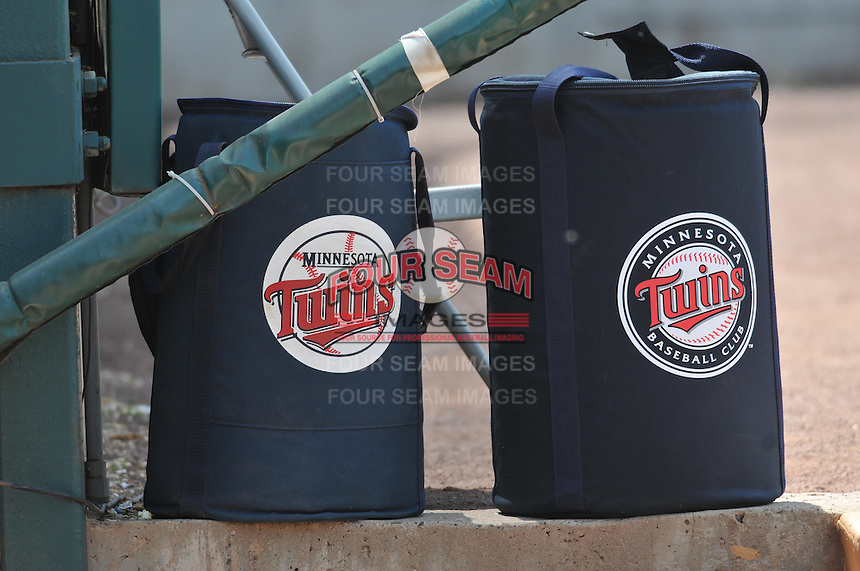 A photo of two Minnesota Twins ball bags taken during a game against the Binghamton Mets at New Britain Stadium on June 1, 2014 in New Britain, Connecticut.  (Gregory Vasil/Four Seam Images)
