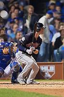 Cleveland Indians Tyler Naquin (30) bats in the third inning during Game 3 of the Major League Baseball World Series against the Chicago Cubs on October 28, 2016 at Wrigley Field in Chicago, Illinois.  (Mike Janes/Four Seam Images)