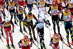 Francesco De Fabiani competes during the 15 Km Mass Start Classic race of Tour de ski as part of the FIS Cross Country Ski World Cup  in Val Di Fiemme, on January 9, 2016. Martin Johnsrud Sundby (NOR) wins and remains current leader.