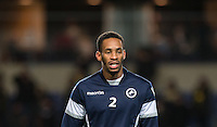 Shaun Cummings of Millwall during pre match warm up during the Johnstone's Paint Trophy Southern Final 2nd Leg match between Oxford United and Millwall at the Kassam Stadium, Oxford, England on 2 February 2016. Photo by Andy Rowland / PRiME Media Images.