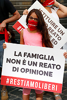People showing banners and wearing red masks during the demonstration against the trans  homophobia law proposed in parliament.  Rome (Italy), July 16th 2020<br /> Foto Samantha Zucchi Insidefoto