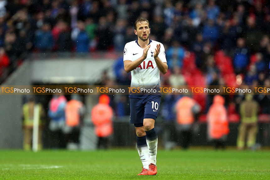 Harry Kane of Tottenham Hotspur applauds the fans after  Tottenham Hotspur vs Cardiff City, Premier League Football at Wembley Stadium on 6th October 2018