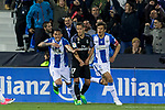 Luciano Neves and Martin Mantovani of Club Deportivo Leganes celebrates after scoring a goal  during the match of  La Liga between Club Deportivo Leganes and Real Madrid at Butarque Stadium  in Leganes, Spain. April 05, 2017. (ALTERPHOTOS / Rodrigo Jimenez)