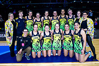 The Pulse team pose for a group photo after winning the ANZ Premiership netball match between the Central Pulse and Northern Mystics at TSB Bank Arena in Wellington, New Zealand on Wednesday, 1 August 2018. Photo: Dave Lintott / lintottphoto.co.nz