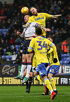 Bolton Wanderers' David Wheater competing with Leeds United's Pontus Jansson<br /> <br /> Photographer Andrew Kearns/CameraSport<br /> <br /> The EFL Sky Bet Championship - Bolton Wanderers v Leeds United - Saturday 15th December 2018 - University of Bolton Stadium - Bolton<br /> <br /> World Copyright &copy; 2018 CameraSport. All rights reserved. 43 Linden Ave. Countesthorpe. Leicester. England. LE8 5PG - Tel: +44 (0) 116 277 4147 - admin@camerasport.com - www.camerasport.com
