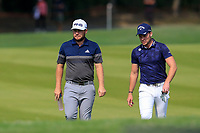 Tyrrell Hatton (ENG) Danny Willett (ENG) on the 2nd fairway during the 3rd round of the WGC HSBC Champions, Sheshan Golf Club, Shanghai, China. 02/11/2019.<br /> Picture Fran Caffrey / Golffile.ie<br /> <br /> All photo usage must carry mandatory copyright credit (© Golffile | Fran Caffrey)