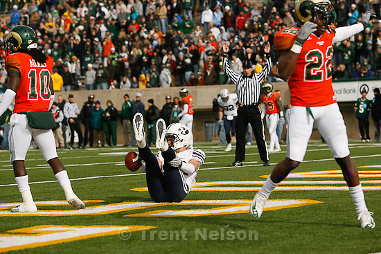 Trent Nelson  |  The Salt Lake Tribune.Colorado State's Elijah-Blu Smith (right) reacts to BYU receiver Luke Ashworth (29) scoring a first half touchdown. BYU vs. Colorado State, college football, Saturday, November 13, 2010.
