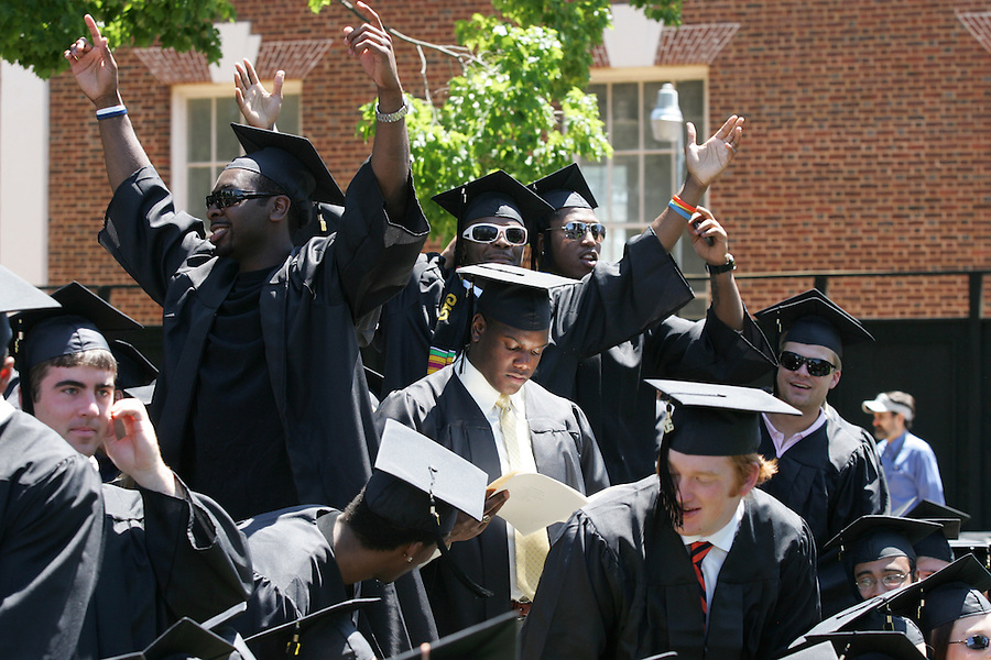 UVa football player at 2006 Graduation. Photo/Andrew Shurtleff graduate celebrate happy
